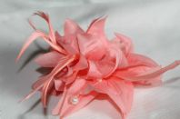 Peach Beaded Fascinator